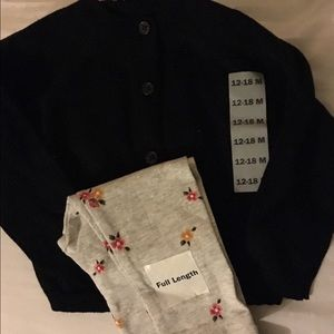 Old navy floral leggings with button up sweater